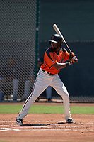 San Francisco Giants Orange second baseman Alen Hanson (22) at bat in a rehab appearance during an Extended Spring Training game against the Seattle Mariners at the San Francisco Giants Training Complex on May 28, 2018 in Scottsdale, Arizona. (Zachary Lucy/Four Seam Images)