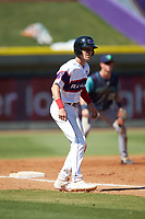 Zach Remillard (7) of the Winston-Salem Rayados takes his lead off of third base against the Lynchburg Hillcats at BB&T Ballpark on June 23, 2019 in Winston-Salem, North Carolina. The Hillcats defeated the Rayados 12-9 in 11 innings. (Brian Westerholt/Four Seam Images)