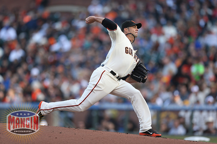 SAN FRANCISCO, CA - MAY 4:  Ryan Vogelsong #32 of the San Francisco Giants pitches against the Los Angeles Dodgers during the game at AT&T Park on Saturday, May 4, 2013 in San Francisco, California. Photo by Brad Mangin