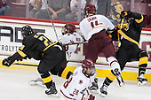 Max St. Pierre (CC - 26), Zach Walker (BC - 14), Chris Calnan (BC - 11), Alex Pernitsky (CC - 20) - The Boston College Eagles defeated the visiting Colorado College Tigers 4-1 on Friday, October 21, 2016, at Kelley Rink in Conte Forum in Chestnut Hill, Massachusetts.The Boston College Eagles defeated the visiting Colorado College Tiger 4-1 on Friday, October 21, 2016, at Kelley Rink in Conte Forum in Chestnut Hill, Massachusett.