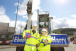 Welsh water - Ebony Locke & John knight from Llansawel Primary School in Briton Ferry who won a competition to name the machines working outside their school..11.07.12.©Steve Pope.