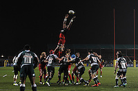 Maro Itoje of Saracens cannot quite reach the overthrown lineout ball during the Premiership Rugby match between Saracens and Leicester Tigers - 02/01/2016 - Allianz Park, London<br /> Mandatory Credit: Rob Munro/Stewart Communications
