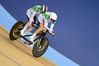 PICTURE BY ALEX BROADWAY /SWPIX.COM - 2012 London Paralympic Games - Day Four - Track Cycling - Velodrome, Olympic Park, London, England - 02/09/12 - Catherine Walsh & pilot Francine Meehan of Ireland compete in the Women's Individual B Pursuit Final.