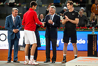 Serbian Novak Djokovic, Manolo Santana, Madrid Mayor Manuela Carmena and the president of Mutua Madrileña Ignacio Garralda during  TPA Finals Mutua Madrid Open Tennis 2016 in Madrid, May 08, 2016. (ALTERPHOTOS/BorjaB.Hojas) /NortePhoto.com