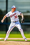 21 February 2019: Washington Nationals pitcher Koda Glover works on infield drills during a Spring Training workout at the Ballpark of the Palm Beaches in West Palm Beach, Florida. Mandatory Credit: Ed Wolfstein Photo *** RAW (NEF) Image File Available ***