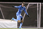 25 November 2012: UNC's Cameron Brown celebrates scoring the game-winning goal. The University of North Carolina Tar Heels played the Farleigh Dickinson Knights at Fetzer Field in Chapel Hill, North Carolina in a 2012 NCAA Division I Men's Soccer Tournament third round game. UNC won the game 1-0 in overtime.
