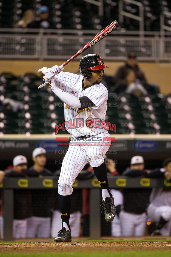 Jose Cuas (12) of the Maryland Terrapins bats during a 2015 Big Ten Conference Tournament game between the Maryland Terrapins and Michigan State Spartans at Target Field on May 20, 2015 in Minneapolis, Minnesota. (Brace Hemmelgarn/Four Seam Images)