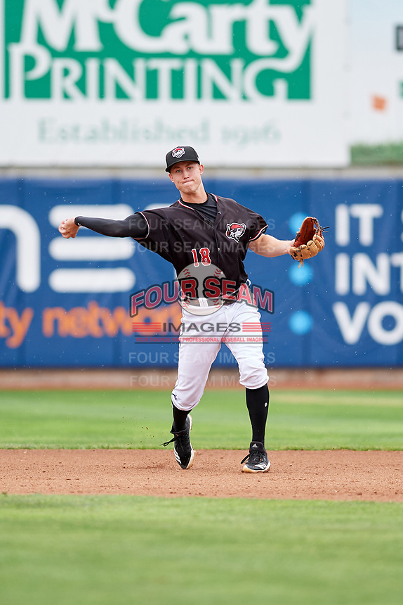 Erie SeaWolves shortstop A.J. Simcox (18) throws to first base during a game against the New Hampshire Fisher Cats on June 20, 2018 at UPMC Park in Erie, Pennsylvania.  New Hampshire defeated Erie 10-9.  (Mike Janes/Four Seam Images)