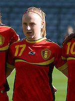 20140410 - BRUSSELS , BELGIUM : Belgian Silke Leynen pictured during the female soccer match between BELGIUM U19 and GERMANY U19 , in the third and final game of the Elite round in group 4 in the UEFA European Women's Under 19 competition 2014 in the Koning Boudewijn Stadion , Thursday 10 April 2014 in Brussels . PHOTO DAVID CATRY