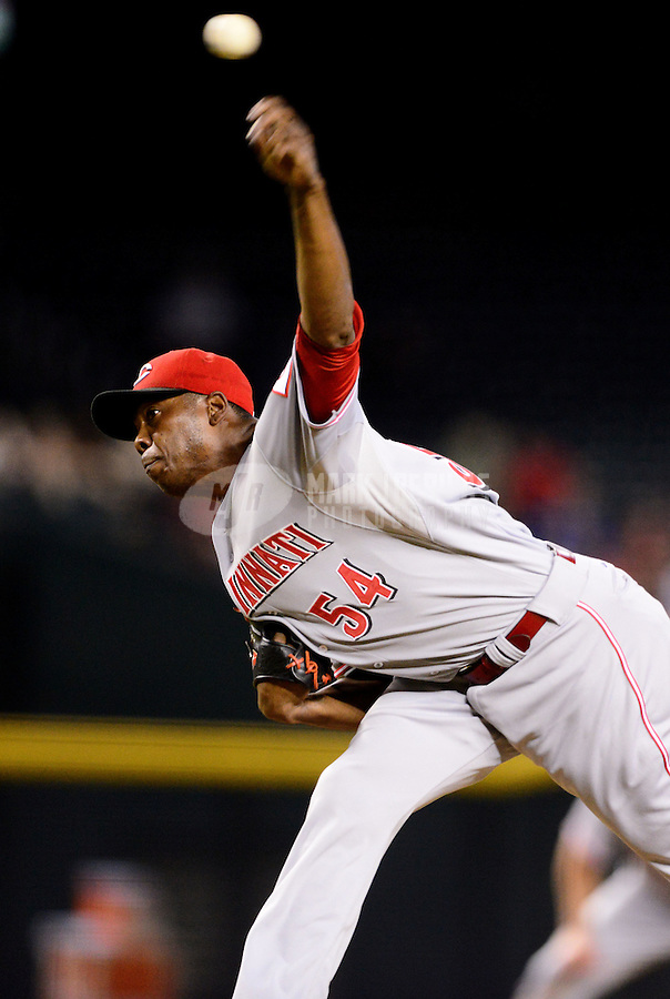 Aug. 28, 2012; Phoenix, AZ, USA: Cincinnati Reds pitcher Aroldis Chapman throws in the ninth inning against the Arizona Diamondbacks at Chase Field. Mandatory Credit: Mark J. Rebilas-