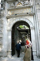 Muslims entering the Eyup mosque complex, Istanbul, Turkey