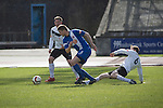 First-half action at the Commonwealth Stadium at Meadowbank during the Scottish Lowland League match between Edinburgh City (white shirts) and city rivals Spartans, which was won by the hosts by 2-0. Edinburgh City were the 2014-15 league champions and progressed to a play-off to decide whether there would be a club promoted to the Scottish League for the first time in its history. The Commonwealth Stadium hosted Scottish League matches between 1974-95 when Meadowbank Thistle played there.