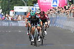 The breakaway led by Cesare Benedetti (ITA) Bora-Hansgrohe, Damiano Caruso (ITA) Bahrain-Merida and Eddie Dunbar (IRL) Team Ineos sprint for the finish line of Stage 12 of the 2019 Giro d'Italia, running 158km from Cuneo to Pinerolo, Italy. 23rd May 2019<br /> Picture: Gian Mattia D'Alberto/LaPresse | Cyclefile<br /> <br /> All photos usage must carry mandatory copyright credit (© Cyclefile | Gian Mattia D'Alberto/LaPresse)