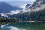 Ross Lake National Recreation Area, Wahington:<br /> Rising mist and fog on the Cascade ridges above Thunder Creek Canyon and Ross Lake