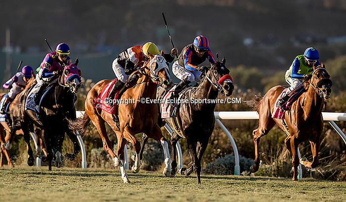 November 24, 2018:  Caribou Club with Joe Talamo up wins the Seabiscuit Handicap at Del Mar on November 24, 2018 in Del Mar, California. Evers/Eclipse Sportswire/CSM