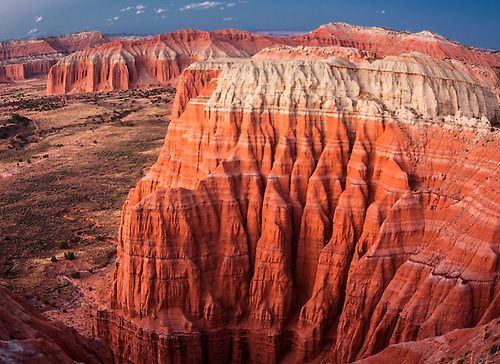 Erosion has formed cathedral-like spires at Cathedral Valley at Capital Reef National Park, Utah