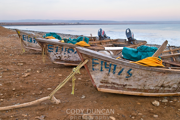 Small fishing boats pulled ashore, Punto San Jacinto, Baja, Mexico