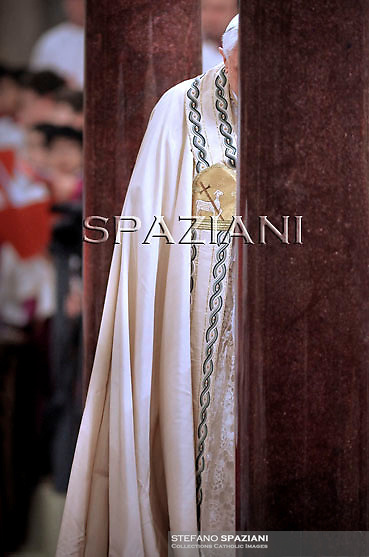 Pope Benedict XVI  celebration of the second vespers of the solemnity of the conversion of Saint Paul on January 25, 2011 in St Paul's basilica outside the walls in Rome.