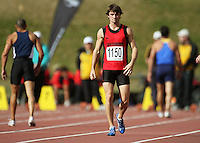 Canterbury's David Ambler, who was disqualified from the men's 100m final for a false start during the National athletics championships at Newtown Park, Wellington, New Zealand on Friday, 27 March 2009. Photo: Dave Lintott / lintottphoto.co.nz