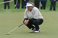 THOMASTOWN, IRELAND. Fred Couples USA studying his putt on the 6th during the final day of the American Express Championship at the Mount Juliet Golf Club on October 3rd, 2004 in Thomastown, Ireland ..Photo AFP/NEWSFILE/FRAN CAFFREY..(Photo credit should read FRAN CAFFREY/NEWSFILE/AFP)...This Picture has been sent you under the condtions enclosed by:.Newsfile Ltd..the Studio,.Millmount Abbey,.Drogheda,.Co Meath..Ireland..Tel: +353(0)41-9871240.Fax: +353(0)41-9871260.GSM: +353(0)86-2500958.email: pictures@newsfile.ie.www.newsfile.ie.FTP: 193.120.102.198..This picture is from Fran Caffrey@newsfile.ie