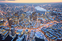 downtown aerial, over Customs House,  looking west, winter, snow, dusk, Boston, MA