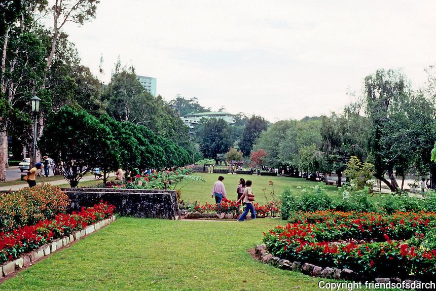 Philippines: Baguio--Burnham Park, manicured grounds. Photo '82.
