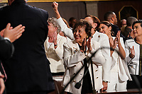 FEBRUARY 5, 2019 - WASHINGTON, DC: Representative Nita Lowey, D-NY, Alexandria Ocasio-Cortez, D-NY, and other House members during the State of the Union address at the Capitol in Washington, DC on February 5, 2019. Photo Credit: Doug Mills/CNP/AdMedia
