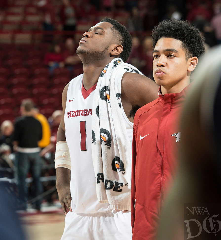 NWA Democrat-Gazette/ANTHONY REYES &bull; @NWATONYR<br /> Arkansas Razorbacks forward Trey Thompson (1) reacts to final score while walking off the court against Auburn in the second half Wednesday, Feb. 17, 2016 at Bud Walton Arena in Fayetteville. The Razorbacks lost 90-86.