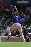 Albuquerque Isotopes third baseman Josh Fuentes (7) during a Pacific Coast League game against the El Paso Chihuahuas at Southwest University Park on May 10, 2019 in El Paso, Texas. Albuquerque defeated El Paso 2-1. (Zachary Lucy/Four Seam Images)