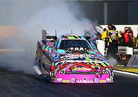 Feb 12, 2016; Pomona, CA, USA; NHRA funny car driver Courtney Force during qualifying for the Winternationals at Auto Club Raceway at Pomona. Mandatory Credit: Mark J. Rebilas-USA TODAY Sports