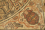 A Byzantine mosaic floor depicting an amphorae and birds discovered in Beit Kama, the northern Negev