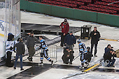 The Black Bears head to the ice for the start of the game from the home dugout. - The University of Maine Black Bears defeated the Boston University Terriers 7-3 (2EN) on Saturday, January 11, 2014, at Fenway Park in Boston, Massachusetts.