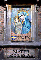 the &quot;Mater Ecclesiae&quot; mosaic.Apostolic Palace in vatican Covering a window facing the square, the &quot;Mater Ecclesiae&quot; mosaic was commissioned by Pope John Paul II in thanksgiving to the Virgin Mary after the assassination attempt.<br /> Pope Francis  during mass for priests as part of the Jubilee Year of Mercy in St. Peter square at the Vatican,June 3, 2016.