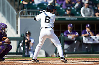 Michael Turconi (6) of the Wake Forest Demon Deacons at bat against the Furman Paladins at BB&T BallPark on March 2, 2019 in Charlotte, North Carolina. The Demon Deacons defeated the Paladins 13-7. (Brian Westerholt/Four Seam Images)