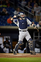 Lake County Captains catcher Logan Ice (33) during a game against the Quad Cities River Bandits on May 6, 2017 at Modern Woodmen Park in Davenport, Iowa.  Lake County defeated Quad Cities 13-3.  (Mike Janes/Four Seam Images)
