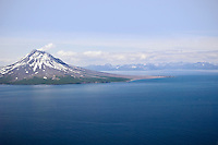 Aerial view of Saint Augustine Volcano, a Volcanic island in lower Cook Inlet. Summer in Southcentral Alaska.