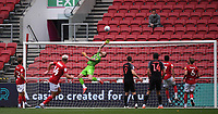 15th July 2020; Ashton Gate Stadium, Bristol, England; English Football League Championship Football, Bristol City versus Stoke City; Daniel Bentley of Bristol City tips a shot over the bar
