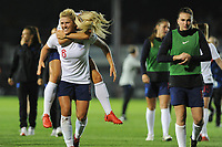 Millie Bright celebrates with Rachel Daly of England Women at the final whistle of the FIFA Women's World Cup Qualifier match between Wales and England at Rodney Parade on August 31, 2018 in Newport, Wales.