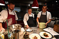 MELBOURNE, 30 June 2017 – Stuart Bell, Sasha Randle and Simon Consentino prepare for a dinner celebrating Philippe Mouchel's 25 years in Australia with six chefs who worked with him in the past at Philippe Restaurant in Melbourne, Australia.