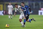 Christian Oliva of Cagliari tussles with Stefano Sensi of Inter during the Coppa Italia match at Giuseppe Meazza, Milan. Picture date: 14th January 2020. Picture credit should read: Jonathan Moscrop/Sportimage