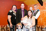 Baby Zack Rice with his parents Lyndsey & Neil Rice, Ballybunion, godparents Rena Hannon & Brendan Kearney and brothers Neil & Wyatt who was christened in St. John's Church, Ballybunion by Fr. Spring on Saturday last and afterwards at the railway Bar, Ballybunion .