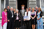 Gena Heraty was honoured at the Westport Town Council's Cathaoirleach's Ball pictured at the event were Bernie Heraty, Declan and Demelza Heraty,  James and Nora Heraty, Cllr Myles Staunton, Gena Heraty, Richard Heraty, Kathleen and Paddy Ryan and Noreen Heraty...Pic Conor McKeown
