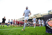 Henry Thomas and the rest of the Bath Rugby team run out onto the field. Aviva Premiership match, between Exeter Chiefs and Bath Rugby on October 30, 2016 at Sandy Park in Exeter, England. Photo by: Patrick Khachfe / Onside Images