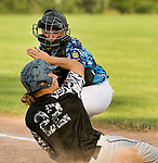 OXFORD, CT-062217JS25- Oakville's Justin Guerrera (22) is tagged out at home by Oxford's Liam O'Brien (23) while trying to score, during their American Legion Zone 5 game Thursday at Oxford High School. Jim Shannon Republican-American