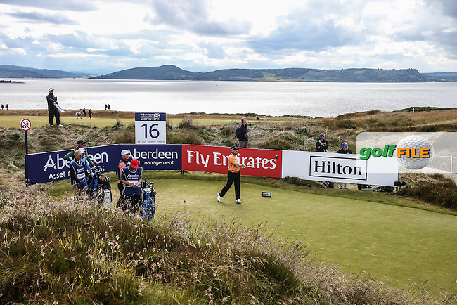 16th tee during Round Two of the 2016 Aberdeen Asset Management Scottish Open, played at Castle Stuart Golf Club, Inverness, Scotland. 08/07/2016. Picture: David Lloyd | Golffile.<br /> <br /> All photos usage must carry mandatory copyright credit (&copy; Golffile | David Lloyd)