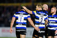 Nathan Catt and Ross Batty of Bath Rugby celebrate a turnover. Aviva Premiership match, between Bath Rugby and Bristol Rugby on November 18, 2016 at the Recreation Ground in Bath, England. Photo by: Patrick Khachfe / Onside Images