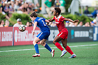Boston, MA - Saturday July 01, 2017: Allysha Chapman and Francisca Ordega during a regular season National Women's Soccer League (NWSL) match between the Boston Breakers and the Washington Spirit at Jordan Field.