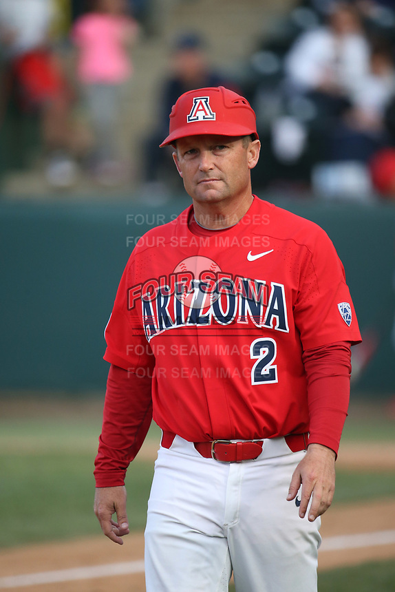 Arizona Wildcats Head Coach Jay Johnson (2) during a game against the UCLA Bruins at Jackie Robinson Stadium on March 19, 2017 in Los Angeles, California. UCLA defeated Arizona, 8-7. (Larry Goren/Four Seam Images)