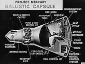 Washington, DC - (FILE) -- Less than a year after its birth, the National Aeronautics and Space Administration (NASA) announced its first astronaut class, the Mercury Seven, on Thursday, April 9, 1959. Project Mercury proved that humans could live and work in space, paving the way for all future human exploration.  This cutaway drawing of the Mercury capsule was used by the Space Task Group at the first NASA inspection, on Saturday, October 24, 1959. .Credit: NASA via CNP