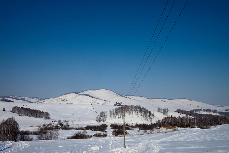 Altai Region, Siberia, Russia, 25/02/2011..An electrical sub-station and new pylons erected to bring power to the site of the first casino at the proposed Siberian Coin casino project in the Altai mountains.